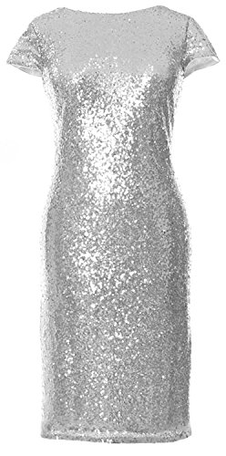 MACloth Gorgeous Cap Sleeves Short Bridesmaid Dress Sequin Cocktail Formal Gown Plateado