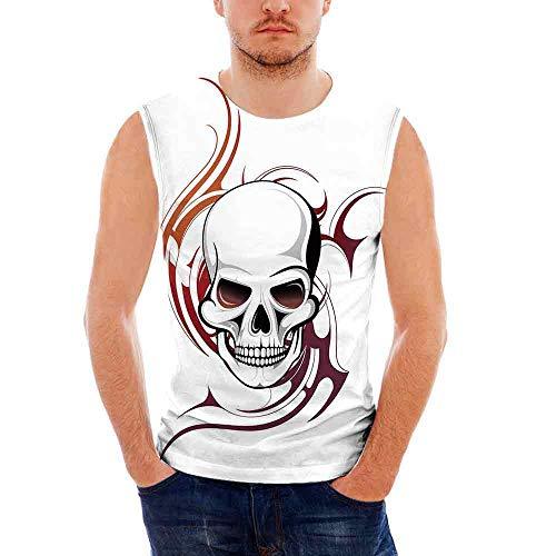 iPrint Mens Workwear Tattoo Decor Ultra Cotton Tank,Scary
