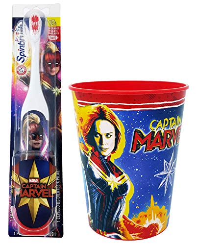 Captain Marvel Toothbrush Dental Kit: 2 Items - Spinbrush Powered Toothbrush, Kid's Character Rinse Cup (Kids Toothbrushes Marvel)