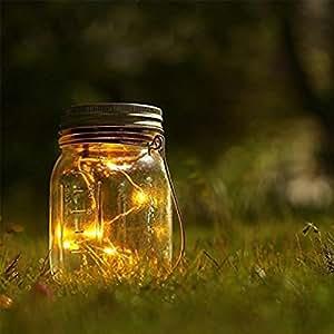 Cambio de color LED con luz solar para exteriores Mason Jar lámpara y Home Garden decorativo jarrón de vidrio tanque que deseen botella enchufe, warm white