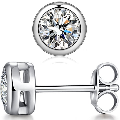 ZowBinBin Sterling Silver Round Cubic Zirconia Stud Earrings