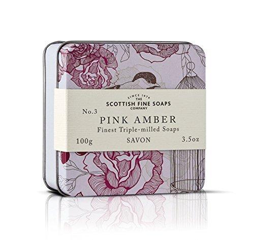 Scottish Fine Soaps Vintage Pink Amber Soap Tin 100G By The Scottish Fine Soaps Company
