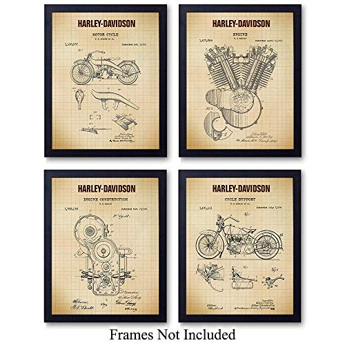Harley Davidson Motorcycle Patent Prints Wall Art Set - Vintage Home Decor for Den, Man Cave, Office, Garage, Living Room, Bar - The Perfect Gift for Men, HOG Riders - 8x10 Photos - Unframed - Graph