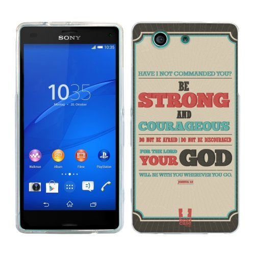 Head Case Designs Be Strong and Courageous Christian Typography Soft Gel Back Case Cover for Sony Xperia Z3 Compact D5803 D5833