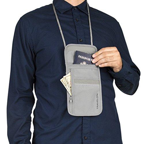 511dYaZr9lL - Travelon RFID Blocking Undergarment Neck Pouch, Gray