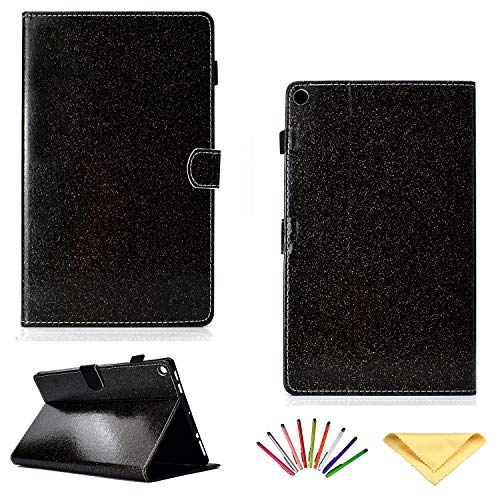 Kindle Fire HD 10 Tablet Case 7th /5th Generation (2017/2015),Uliking Smart PU Leather Folio Stand TPU Cover with Card Slots Pencil Holder [Auto Sleep/Wake] for Amazon Fire HD 10.1 inch, Glitter Black ()