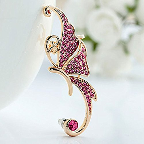 NUWFOR Women's Fashion Cute Jewelry Crystal Butterfly Wings Ear Clip Clamp Earring White(Pink) by NUWFOR (Image #2)