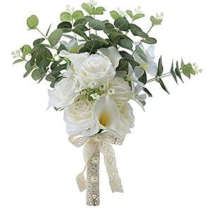 MOJUN Rose Calla Lily Artificial Flower with Plants Simulations Wedding Bridal Bouquet Wedding Bride Bouquet Wedding Bridesmaid Holding Bouquet 65