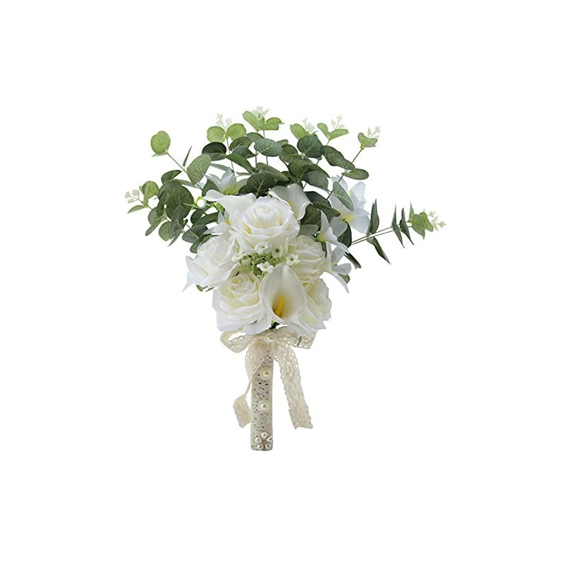 silk flower arrangements kupark handmade romantic rose calla lily artificial flowers blossom decor bridal bridesmaid bouquet home wedding decoration gift for birthday valentine's day