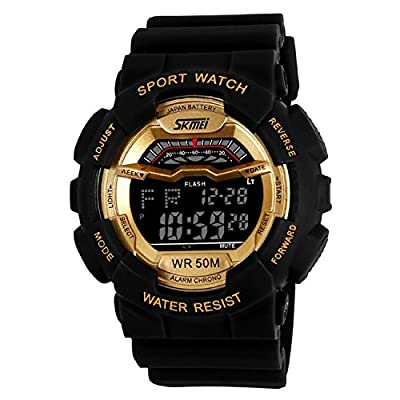 Takyae® Children Fashion LED Digital Sports Watch Multifunctional Electronic Wristwatch 50M Waterproof Gold