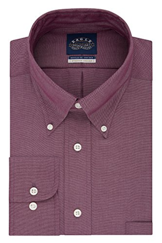 Eagle Men's Non Iron Stretch Regular Fit Solid Buttondown Collar Dress Shirt, Bark, 16.5'' Neck 32''-33'' Sleeve by Eagle