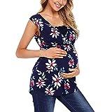 TTINAF Clothes Set Playera de Maternidad sin Mangas para Lactancia, con Estampado Floral, para Embarazo, Lactancia, mamá, túnica