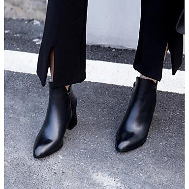 RTRY Zapatos de mujer Cowhide caída de la moda botas botas Chunky talón señaló Toe botines/Botines For Casual Negro Rojo US6.5-7 / EU37 / UK4.5-5 / CN37