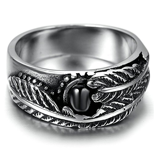 Alimab Stainless Steel Finger Rings Leaves Shaped Women Black Zirconia US Size 13