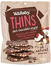 Wallaby Thins Dark Chocolate with Almonds Coconut and Cranberries, 130 g