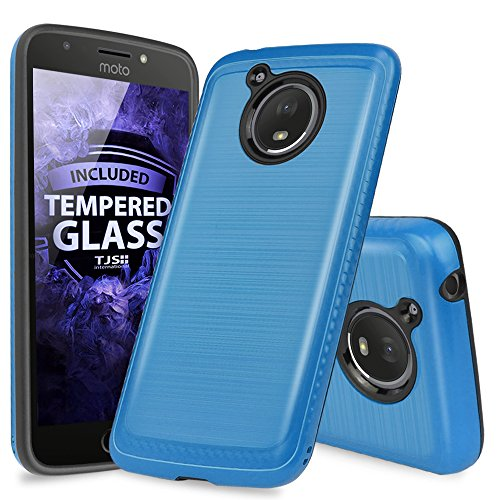Motorola Moto E4 Plus Case, with TJS [Full Coverage Tempered Glass Screen Protector] Dual Layer Hybrid Shock Absorption Case Carbon Fiber Metallic Brush Finish Back Hard TPU Inner Layer (Blue)