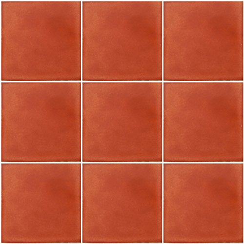 Washed Terracotta Mexican Ceramic Handmade Solid 4x4 Tiles 9 pieces