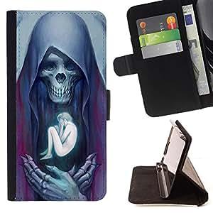 BullDog Case - FOR/Sony Xperia M2 / - / ANGEL DEATH HUMAN BONES SKULL /- Monedero de cuero de la PU Llevar cubierta de la caja con el ID Credit Card Slots Flip funda de cuer