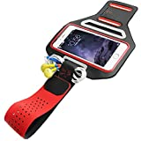 Iphone 6, 6S 4.7 Sports Armband for Running + Fitness Workouts, with Card Holder, Key Holder, Earphone connection, Slim & comfortable, Water Resistant, Adjustable, Screen Protector 100% Touch Sensitivity (Red)