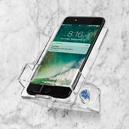 House Ur Home Bathtub & Shower Cell Phone Case Stand Holder. Caddy Tray Mount With Two Powerful Strong Suction Cups Perfect For All Phones Iphone Galaxy. Clear Acrylic One Year Warranty By
