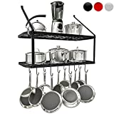 wrought iron pot rack hooks - VDOMUS Shelf Pot Rack Wall Mounted Pan Hanging Racks 2 Tire (black)