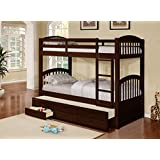 Wood Twin Size Bunk Bed (Bunkbed) With Trundle & Storage Drawers (Espresso)