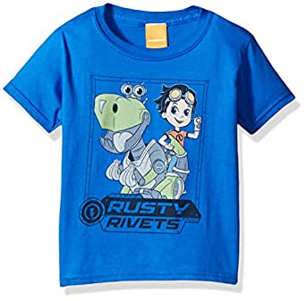 Nickelodeon Little Boys' Rusty Rivets and Botasaur Short Sleeve T-Shirt, Royal, L-7