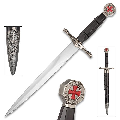 Crusader Ebony Prince Dagger With Scabbard – Stainless Steel Display Blade, ABS And Metal Handle – Length 14 1/2