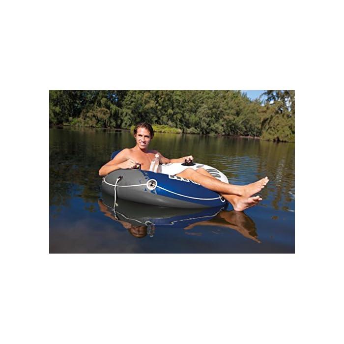 511daTnUnPL Sillón hinchable Intex de la línea River Run 1, ideal para descansar en el agua, con un diámetro de 135 cm Rueda hinchable con respaldo para piscinas y/o la playa Cuenta con: fondo del sillón de rejilla, 2 cámaras de aire, 2 portabotellas, 2 asas de sujeción, cuerda de agarre/transporte y conectores