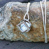 Square Cage Cubic Zirconia Pendant Sterling Silver 925
