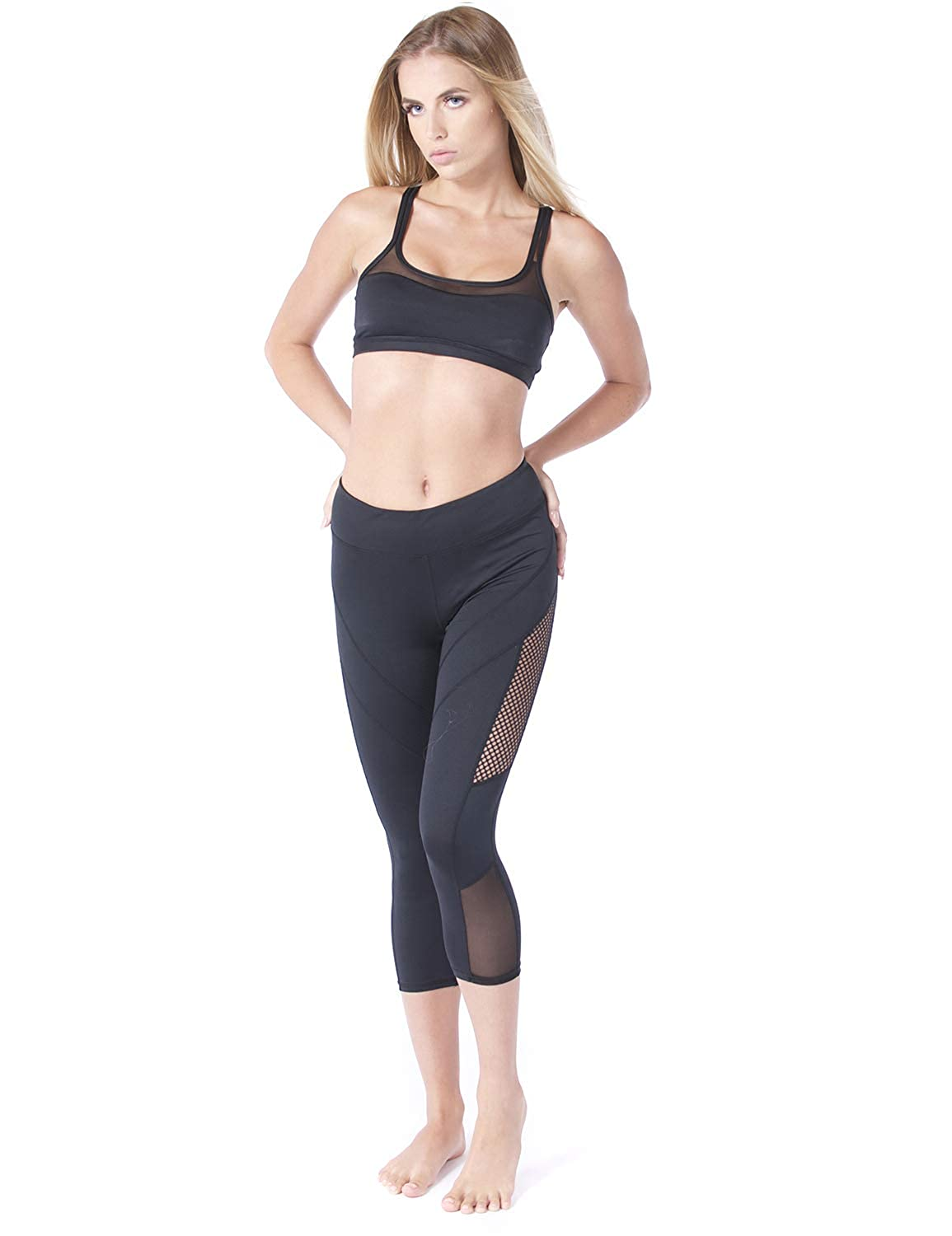 94b58bbd950fc Mapletina Women Sports Bra and Legging One Set Strappy Wireless Padded Mesh  Bra Stretchy Perforated Mesh Capri Leggings (XS) at Amazon Women's Clothing  ...