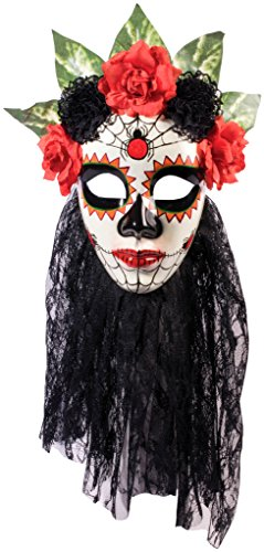 Forum Novelties Women's Day Of The Dead Senora Lace Mask, Black, One (Day Of The Dead Senor Adult Costumes)