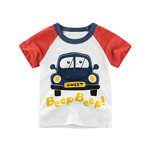162a82a491ac Amazon.com: Kids Boys Short Sleeves T-Shirts Animal Car Print Tee Toddler  Shark Tops Little Boys Casual Tees: Clothing