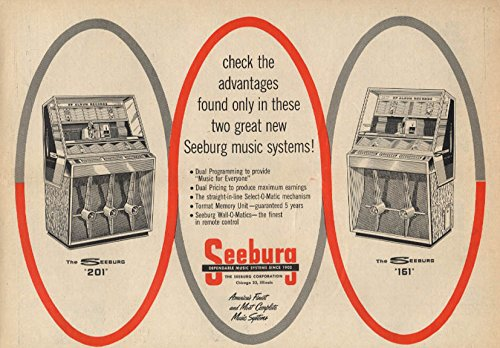 Advantage Music - Check the advantages in these music systems Seeburg 201 & 161 Jukebox ad 1958