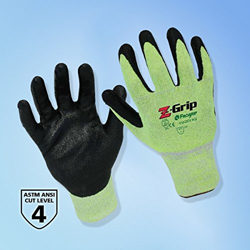 - Z-Grip Fluorescent Green/Black Nitrile Palm Coated Glove, Cut Resistant, LG, 1 Pair