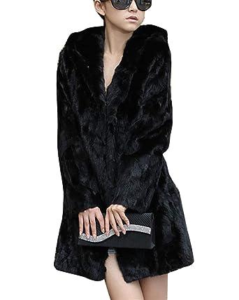 f6f88d8ff2618d Fell Jacke Damen Winter Warme Elegant Jacke Fellmantel Parka Kunstpelz Mantel  Schwarz XS