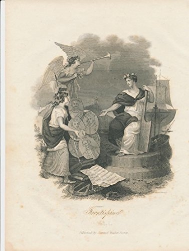 Mythical figures Frontispiece 1847 Boston original Walker antique engraved view