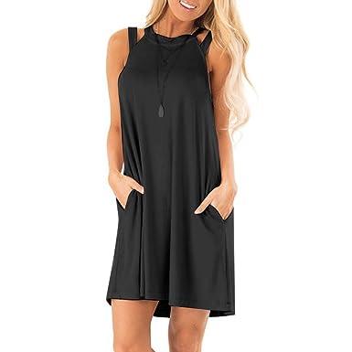 2b1394d6fa5 COOKI Women Mini Dresses Sleeveless Hollow Short Dress Plain Pockets Casual  Dress Loose Summer Tank Dress