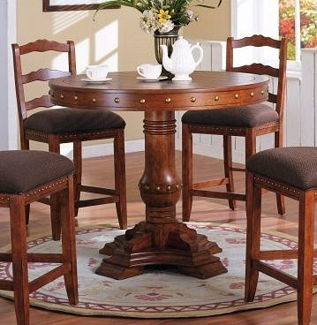 Superieur Nail Head Trim Style Round Counter Height Dining Table