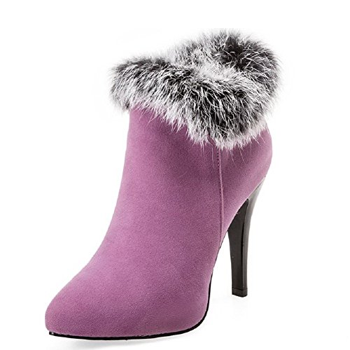 AgooLar Women's Imitated Suede Ankle-high Solid Zipper High-Heels Boots Purple tfEmQOY