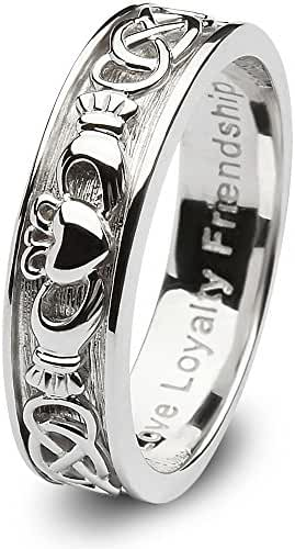 Ladies Sterling Silver Claddagh Wedding Ring SL-SD8. Made in Ireland.