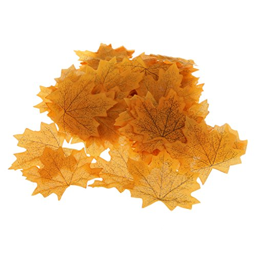 Pack of 100Pcs Artificial Fall Autumn Maple Leaf Silk Leaves Wedding Garden Decorations 7 Colors Choice - (Maple Leaf Halloween Costumes)