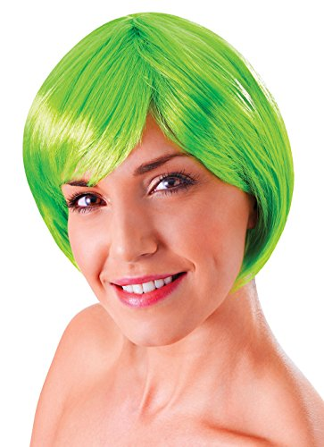 [Retail Zone Women's Short Bob Flick Wig & Fringe 80's Disco China Doll Adult One Size Neon Green] (Neon Green Wigs)