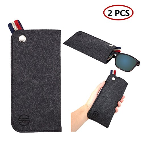 YR Soft Eyeglass Case,Slim Ultralight Pouch Cases For Sunglasses Eyeglasses Reading glasses, Portable Eyewear Holder For Travel,Sunglass case,2 Pack -Dark - Sunglasses Mem