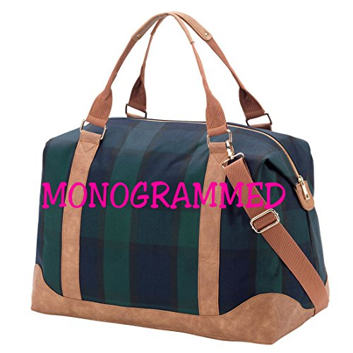 Plaid Fashion Print Weekender Bag with Faux Leather Trim (Monogrammed)
