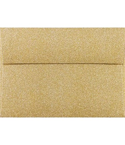 LUXPaper A7 Invitation Envelopes for 5 x 7 Cards in 80 lb. Gold Sparkle, Printable Envelopes for Invitations, w/Peel and Press Seal, 50 Pack, Envelope Size 5 1/4 x 7 1/4 (Gold)