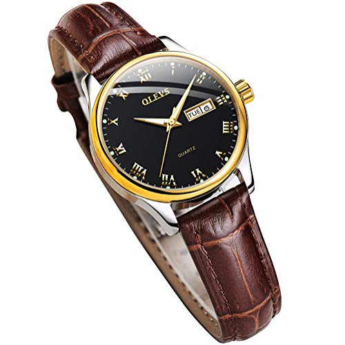 OLEVS Womens Wrist Watches Ladies Female Leather Band Brown Fashion Gold Waterproof Casual Stainless Steel Quartz Gift