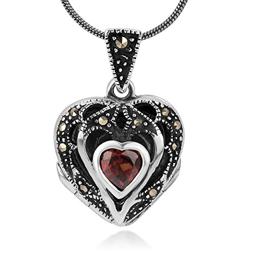 - Sterling Silver Natural Red Garnet and Marcasite Stone Heart Locket Pendant Necklace Chain 18