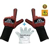 BBQ Oven Gloves&Disposable PE mitten Combination, Extreme Heat Resistant 932°F Satisfy BBQ Outdoor picnic Home get together Oven Microwave Oven Curls and other needs