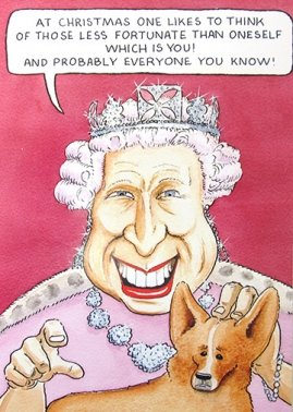 Humorous Christmas Cards.Humorous Christmas Card Plk6721 Less Fortunate Queen And Corgi
